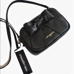 Karl Lagerfeld Black Faux Leather Crossbody Bag
